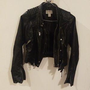 H & M genuine leather black motocycle jacket